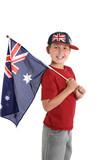 patriotic child holding an aussie flag poster