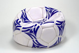 flat white and blue soccer ball poster