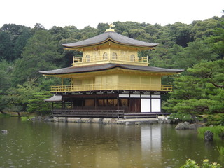 kinkaku-ji (golden temple) in the rain