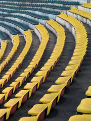 a field of empty stadium seats.