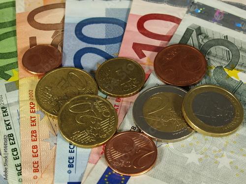 Fotobehang Overige euro münzen und scheine