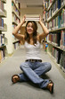 young woman in library