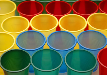 various colour plastic cups