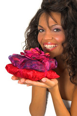 beautiful woman holding spa-flowers pack
