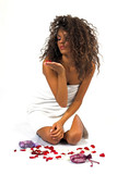 beautiful young woman blowing flowers poster