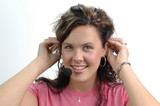 young woman with headphones poster