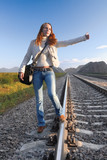 railroad hitch hiking-2 poster