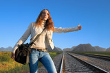 railroad hitch hiking-3 poster