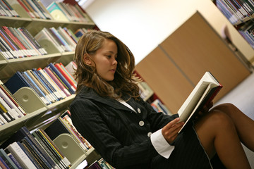 reading in the library