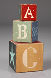 wooden blocks with abc letters poster