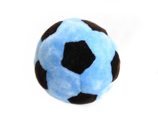 blue soccer ball over white