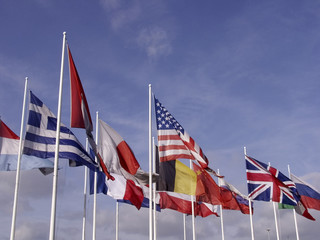 flags of europe and the united states of america