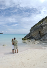 lovers embracing, bermuda