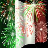 fireworks over italian flag 1 poster