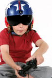 child in helmet playing a flight simulator poster