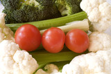 a healthy snack: cauliflower, broccoli, tomatoes, poster