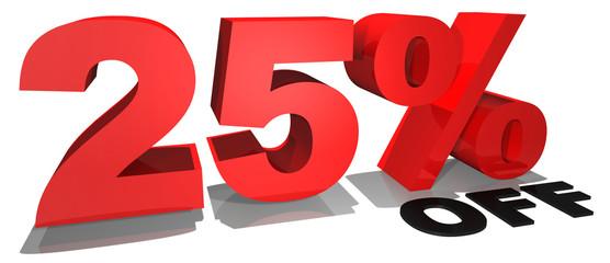 25% off 3d text
