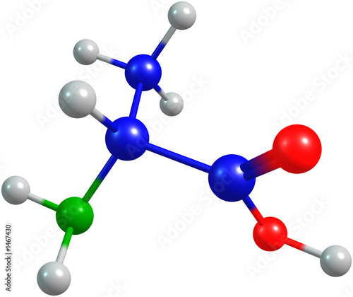 the 3d-rendered colorified molecule of alanine