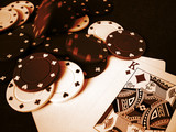 poker cards and poker chips poster