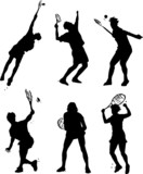 tennis action poses - vector illustrated silhouett poster