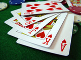 cards on poker table poster