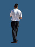 young man walking away poster