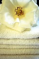 flor sobre toallas blancas
