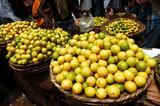 india, pondicherry: colourful market poster
