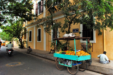 india, pondicherry: french colonial architecture