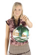 young blonde woman with christmas ball