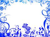 blue foliage frame poster