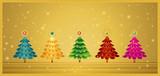 five christmas tree poster