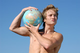 young muscular man with a globe poster