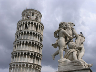 pisa tower and statue