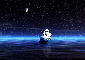 night. lonely sailer