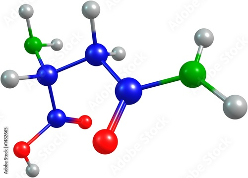 the 3d-rendered colorified molecule of asparagine