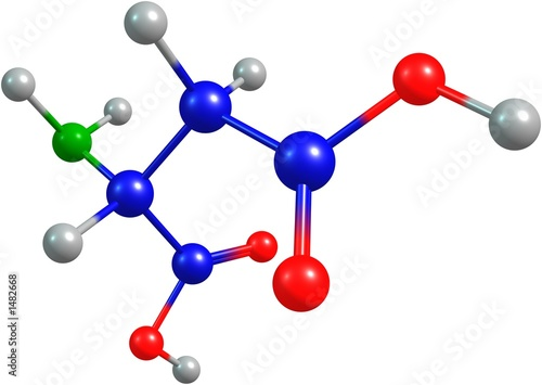 the 3d-rendered colorified molecule of aspartate