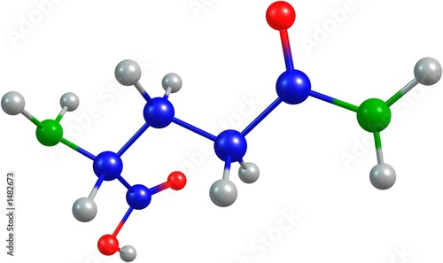 the 3d-rendered colorified molecule of glutamine