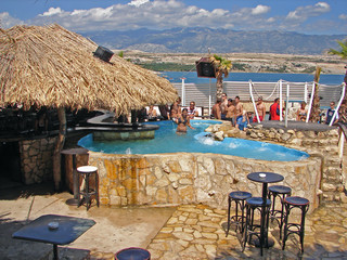 bar on beach eith pool