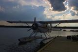 float plane at dusk poster