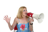 beautiful woman directing with megaphone 1 poster