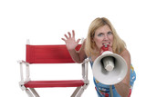 beautiful woman directing with megaphone 2 poster