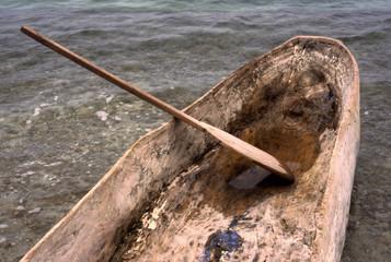 wooden dugout canoe & paddle, haiti