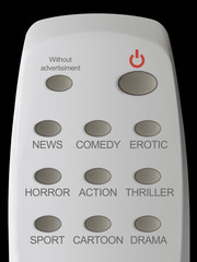 "remote control, buttons news, comedy, erotic, etc., button ""with"