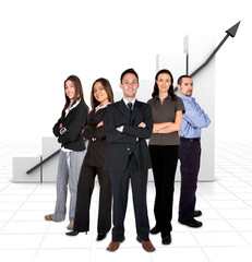 business team in front of a graph