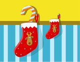 christmas ,festive stocking with reindeer poster