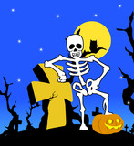 halloween skeleton with cross poster