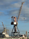 crane at a cargo harbor in russia poster