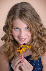 girl with flower, portrait