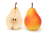 whole and half pear poster